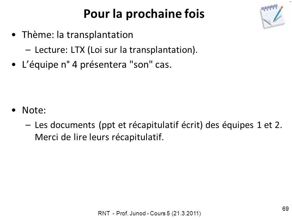 69 Pour la prochaine fois Thème: la transplantation –Lecture: LTX (Loi sur la transplantation).