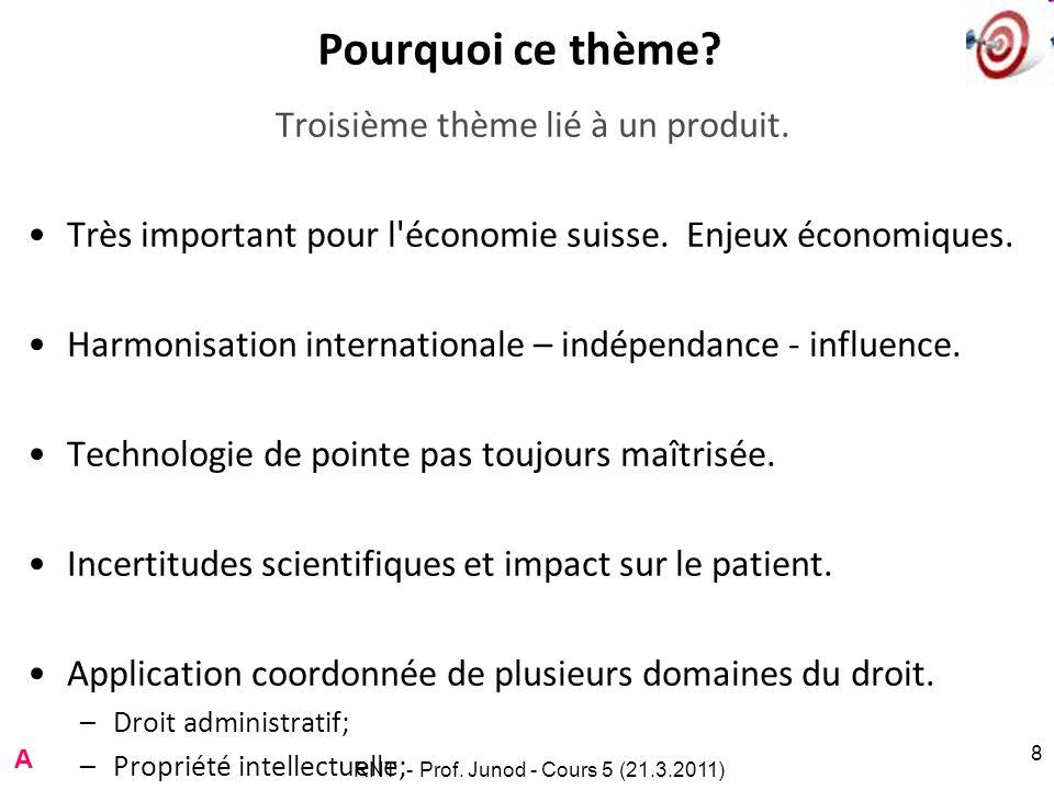 RNT - Prof. Junod - Cours 5 (21.3.2011) 8 Pourquoi ce thème.