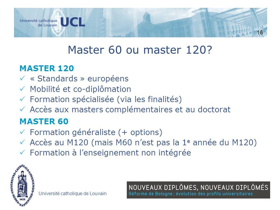 Université catholique de Louvain Master 60 ou master 120? MASTER 120 « Standards » européens Mobilité et co-diplômation Formation spécialisée (via les