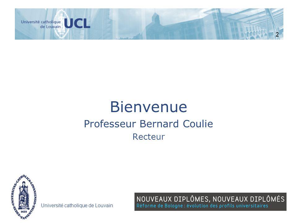 Bienvenue Professeur Bernard Coulie Recteur 2