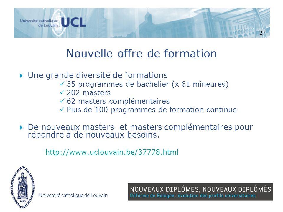 Université catholique de Louvain Nouvelle offre de formation Une grande diversité de formations 35 programmes de bachelier (x 61 mineures) 202 masters