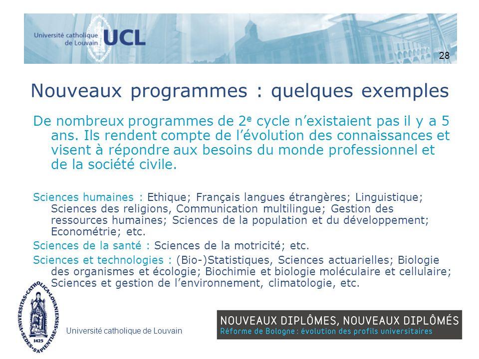 Université catholique de Louvain Nouveaux programmes : quelques exemples De nombreux programmes de 2 e cycle nexistaient pas il y a 5 ans. Ils rendent