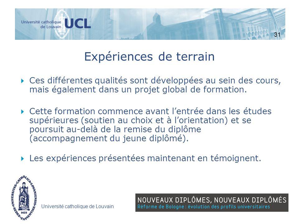 Université catholique de Louvain Expériences de terrain Ces différentes qualités sont développées au sein des cours, mais également dans un projet glo