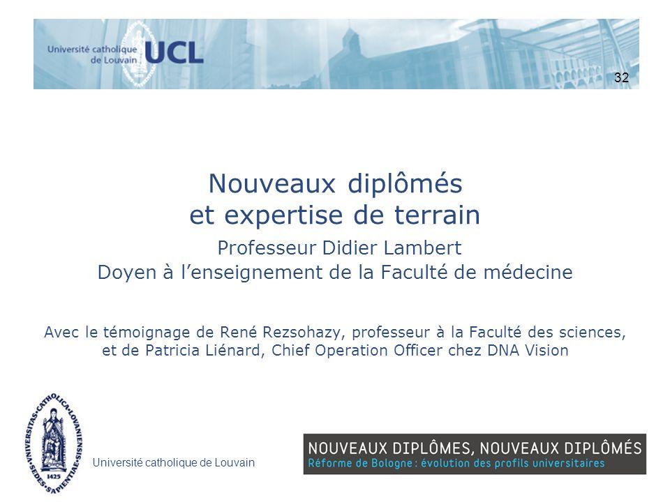 Université catholique de Louvain Nouveaux diplômés et expertise de terrain Professeur Didier Lambert Doyen à lenseignement de la Faculté de médecine A