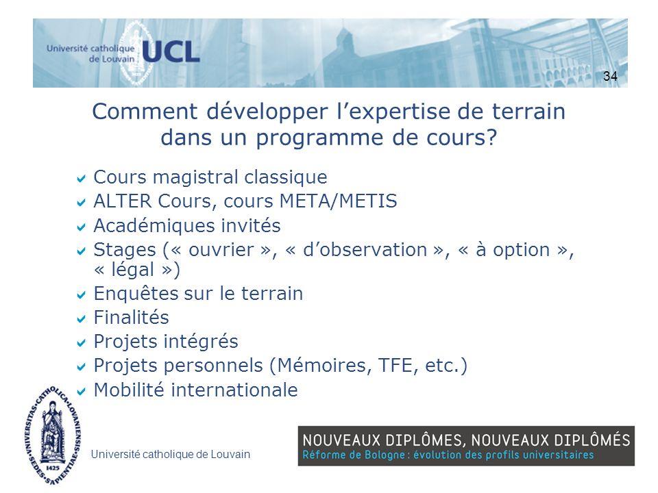 Université catholique de Louvain Comment développer lexpertise de terrain dans un programme de cours? Cours magistral classique ALTER Cours, cours MET