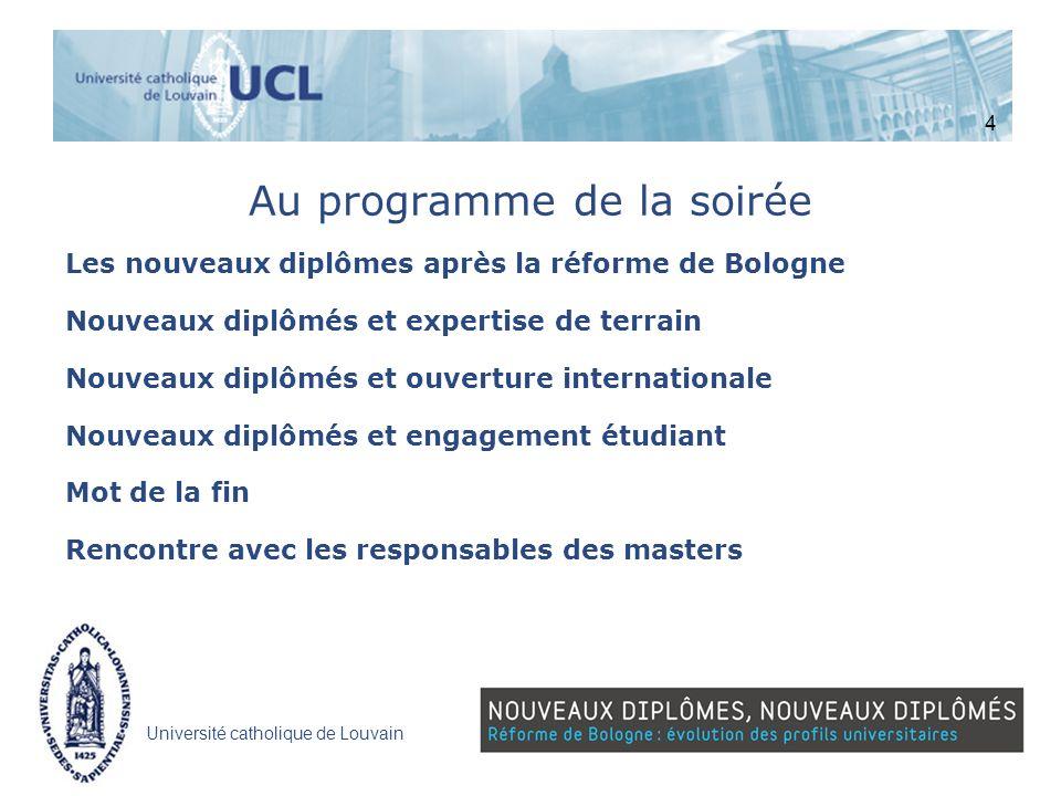 Université catholique de Louvain Au programme de la soirée Les nouveaux diplômes après la réforme de Bologne Nouveaux diplômés et expertise de terrain