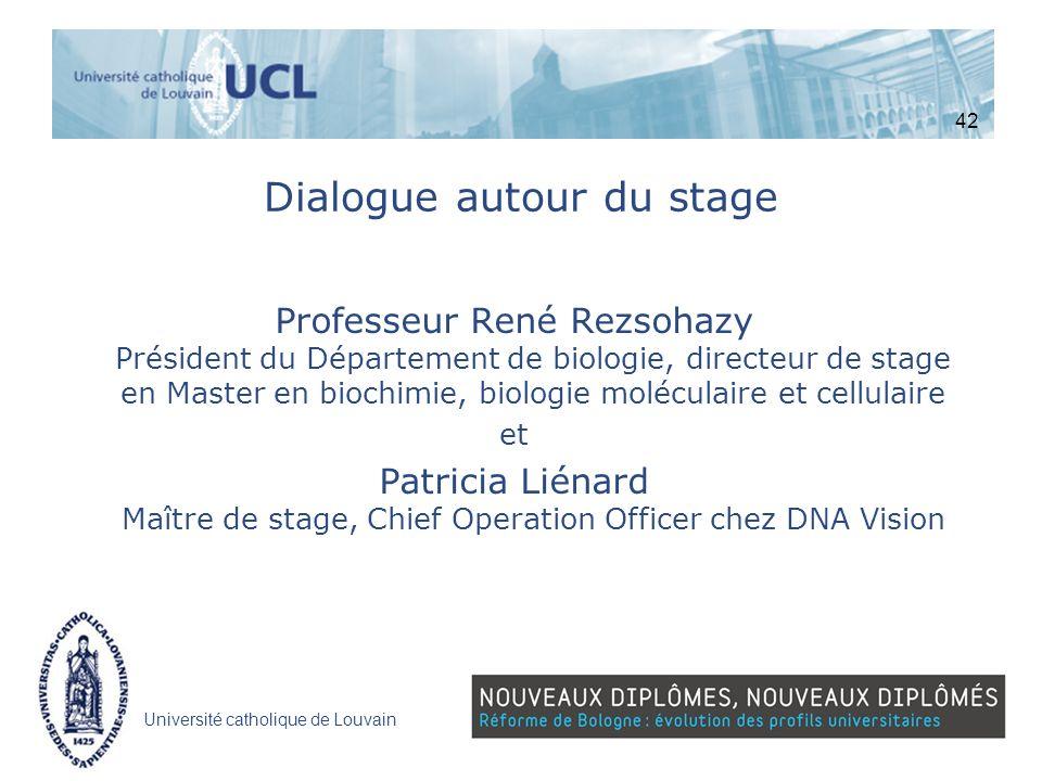 Université catholique de Louvain Dialogue autour du stage Professeur René Rezsohazy Président du Département de biologie, directeur de stage en Master