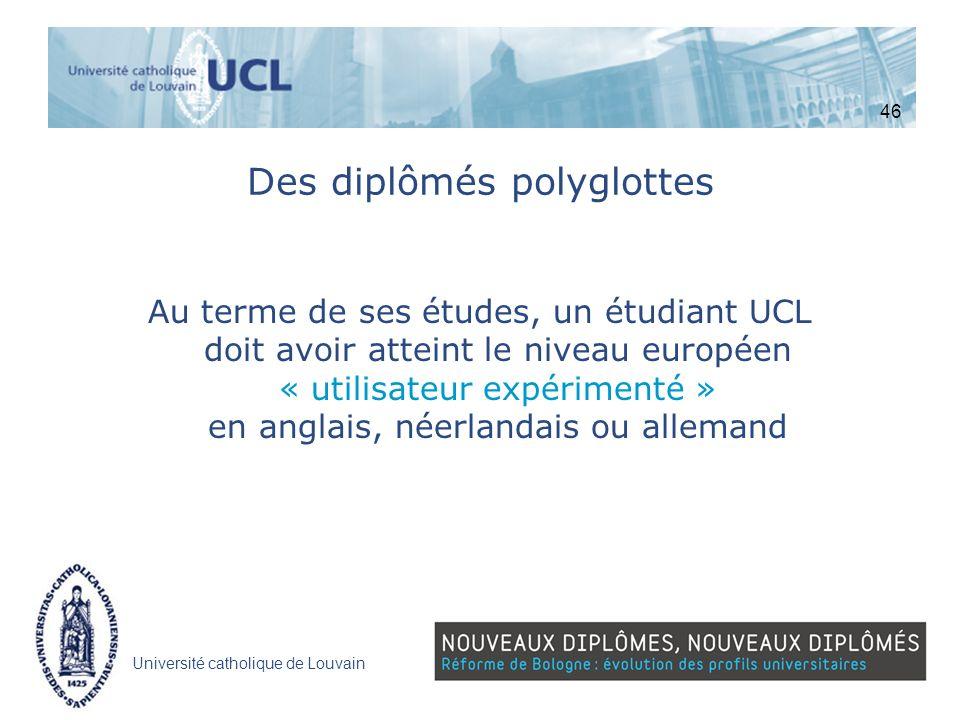 Université catholique de Louvain Des diplômés polyglottes Au terme de ses études, un étudiant UCL doit avoir atteint le niveau européen « utilisateur