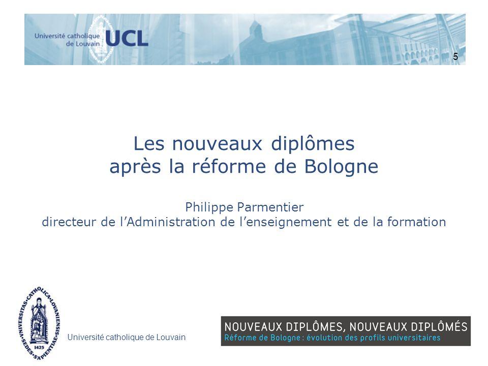 Université catholique de Louvain Les nouveaux diplômes après la réforme de Bologne Philippe Parmentier directeur de lAdministration de lenseignement e