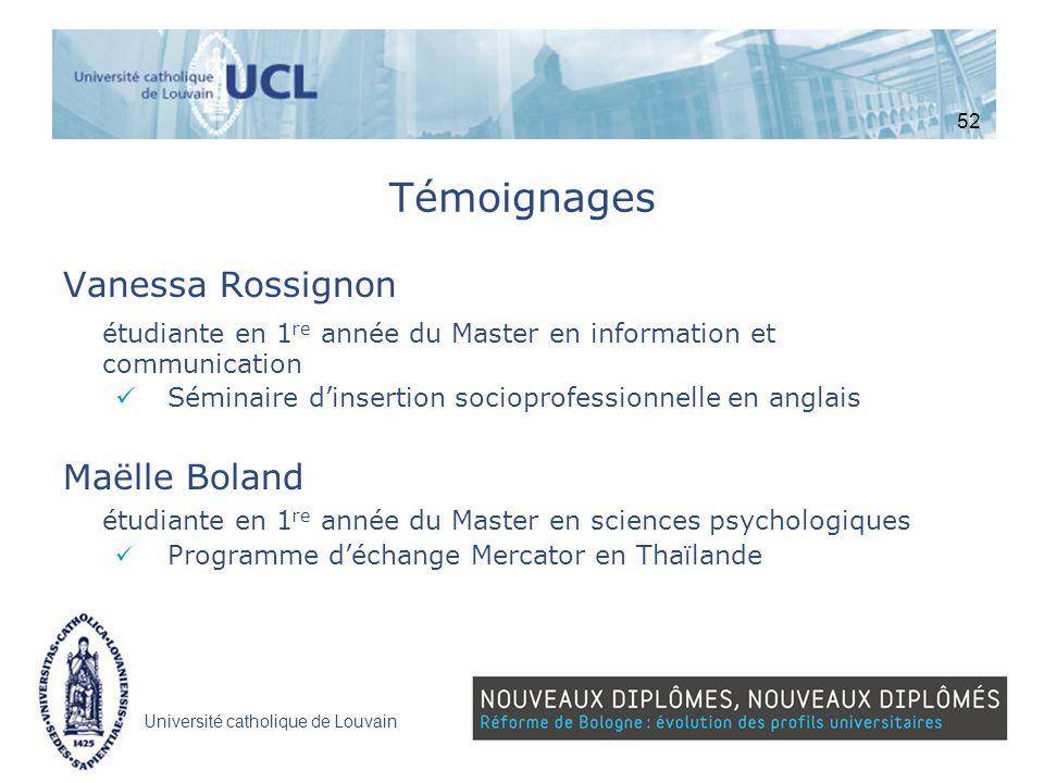 Université catholique de Louvain Témoignages Vanessa Rossignon étudiante en 1 re année du Master en information et communication Séminaire dinsertion