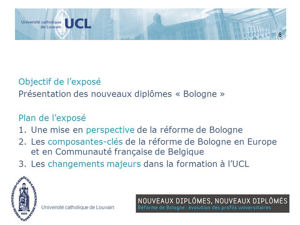 Université catholique de Louvain Objectif de lexposé Présentation des nouveaux diplômes « Bologne » Plan de lexposé 1.Une mise en perspective de la ré