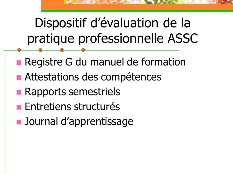 Dispositif dévaluation de la pratique professionnelle ASSC Registre G du manuel de formation Attestations des compétences Rapports semestriels Entreti