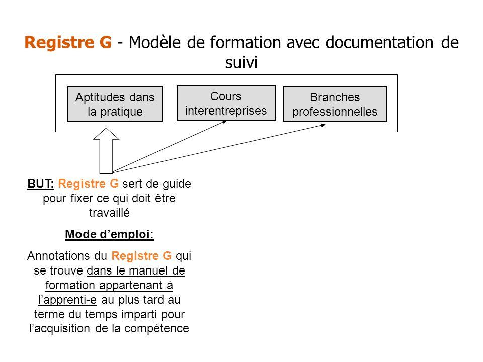 Registre G - Modèle de formation avec documentation de suivi BUT: Registre G sert de guide pour fixer ce qui doit être travaillé Mode demploi: Annotat