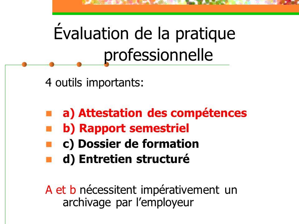 Évaluation de la pratique professionnelle 4 outils importants: a) Attestation des compétences b) Rapport semestriel c) Dossier de formation d) Entreti