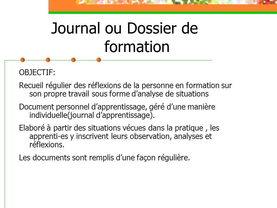 Journal ou Dossier de formation OBJECTIF: Recueil régulier des réflexions de la personne en formation sur son propre travail sous forme danalyse de si