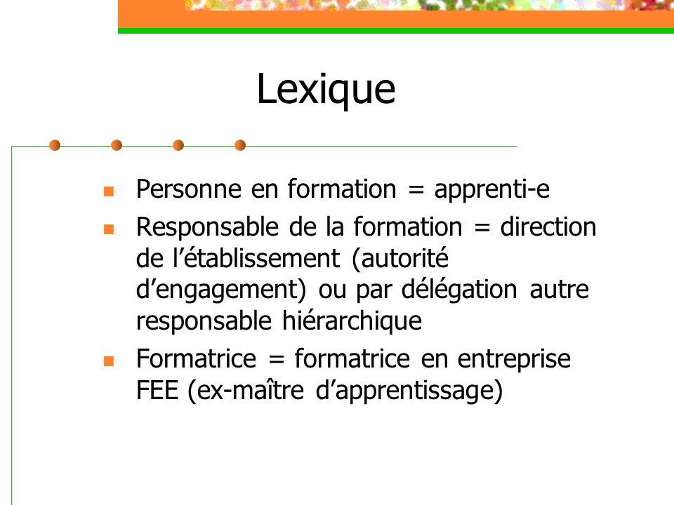 Lexique Personne en formation = apprenti-e Responsable de la formation = direction de létablissement (autorité dengagement) ou par délégation autre re