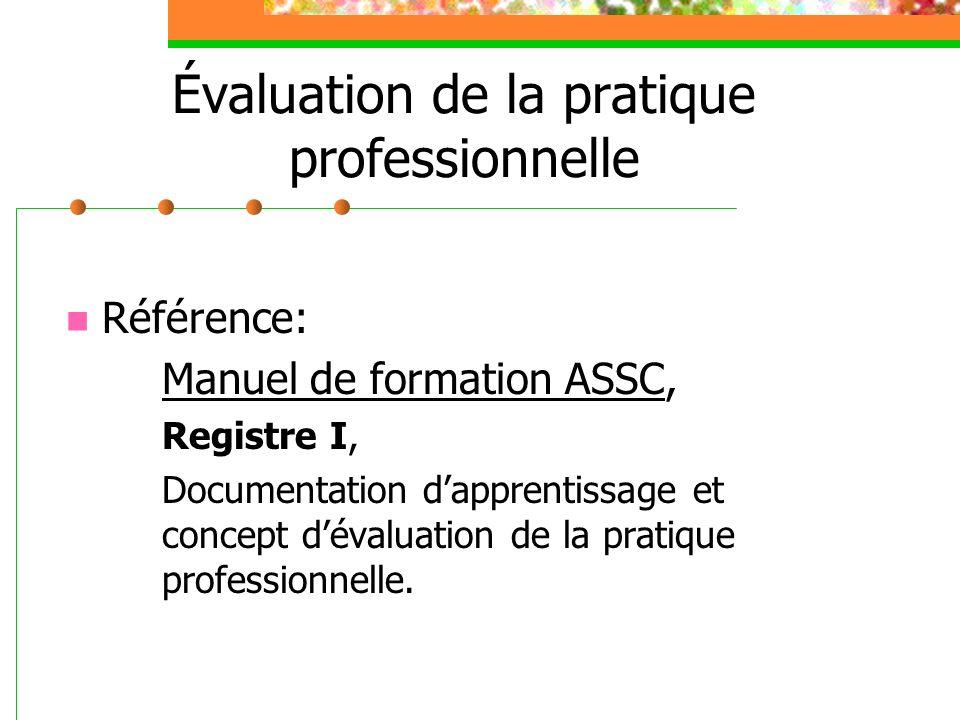 Évaluation de la pratique professionnelle Référence: Manuel de formation ASSC, Registre I, Documentation dapprentissage et concept dévaluation de la p