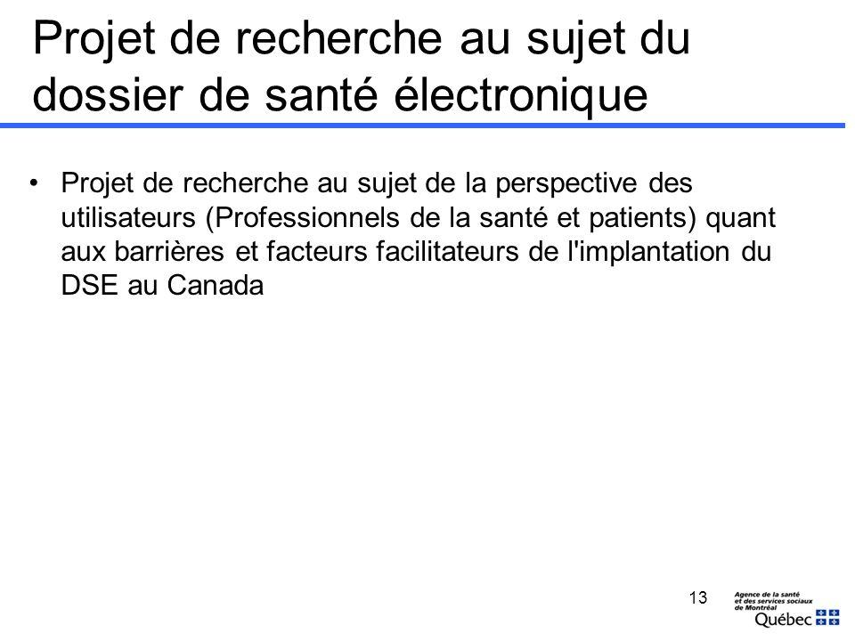 Projet de recherche au sujet du dossier de santé électronique Projet de recherche au sujet de la perspective des utilisateurs (Professionnels de la sa