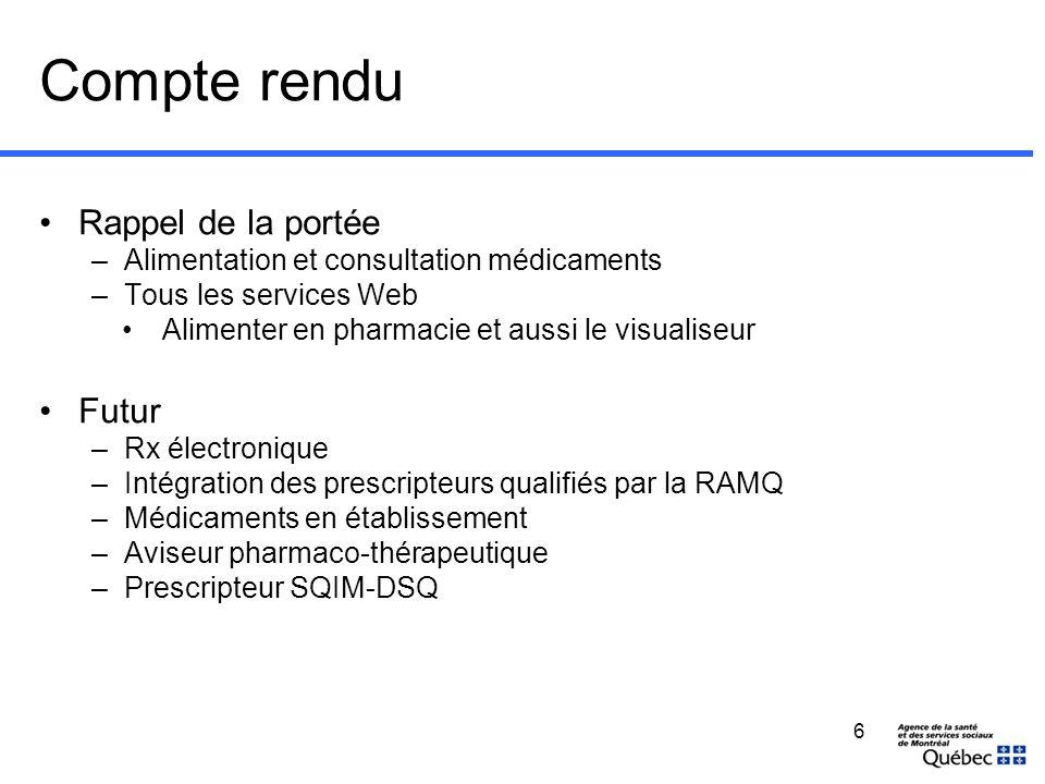 Compte rendu Rappel de la portée –Alimentation et consultation médicaments –Tous les services Web Alimenter en pharmacie et aussi le visualiseur Futur