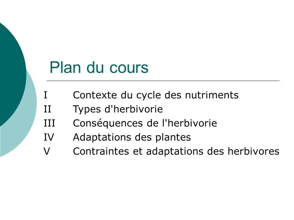 Plan du cours IContexte du cycle des nutriments II Types d'herbivorie IIIConséquences de l'herbivorie IVAdaptations des plantes V Contraintes et adapt