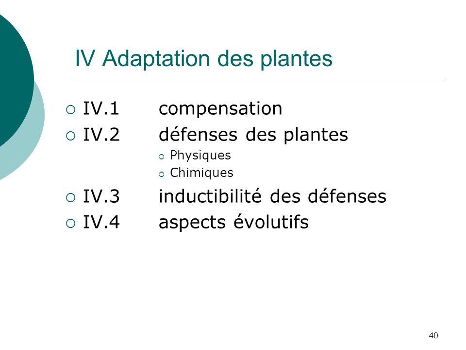40 IV Adaptation des plantes IV.1 compensation IV.2 défenses des plantes Physiques Chimiques IV.3 inductibilité des défenses IV.4 aspects évolutifs