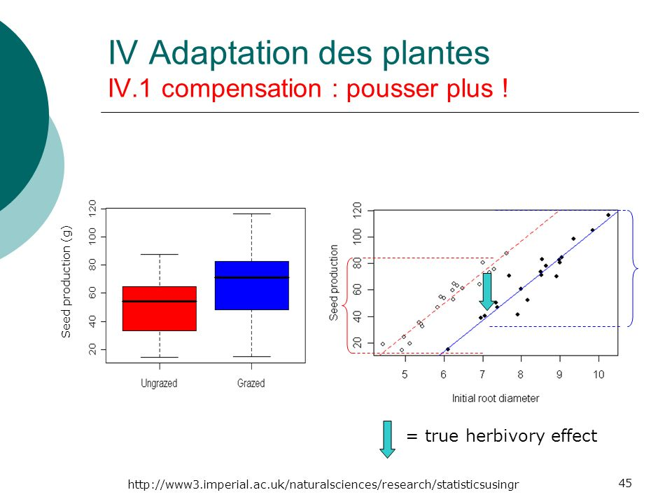 45 Seed production (g) = true herbivory effect http://www3.imperial.ac.uk/naturalsciences/research/statisticsusingr IV Adaptation des plantes IV.1 compensation : pousser plus !
