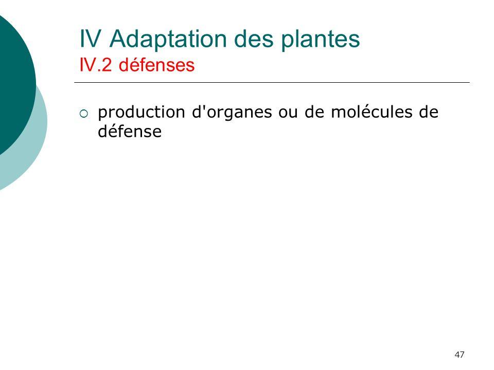 47 IV Adaptation des plantes IV.2 défenses production d'organes ou de molécules de défense