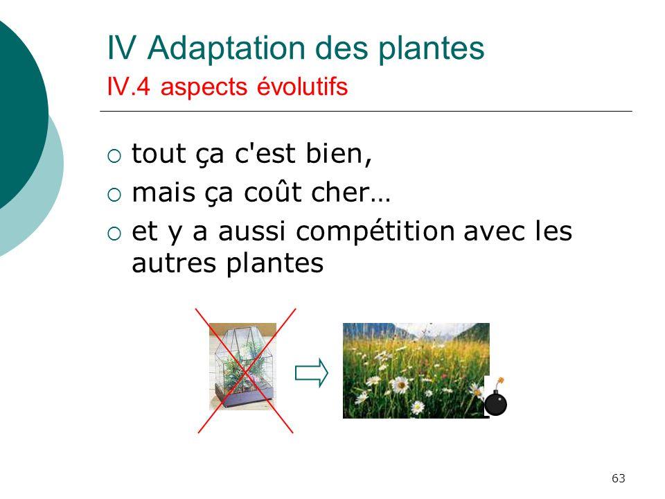 63 IV Adaptation des plantes IV.4 aspects évolutifs tout ça c'est bien, mais ça coût cher… et y a aussi compétition avec les autres plantes