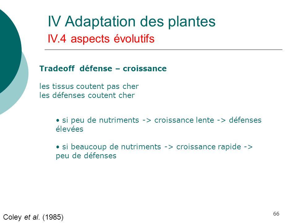 66 Coley et al. (1985) IV Adaptation des plantes IV.4 aspects évolutifs Tradeoff défense – croissance les tissus coutent pas cher les défenses coutent