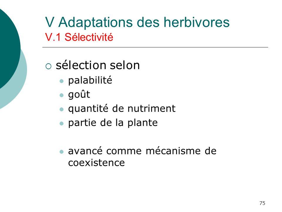75 V Adaptations des herbivores V.1 Sélectivité sélection selon palabilité goût quantité de nutriment partie de la plante avancé comme mécanisme de co