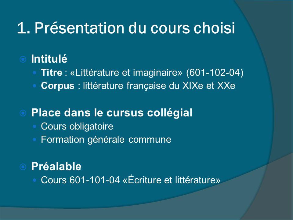 Séquence retenue Nombre de cours Séquence de 4 cours Situation du cours dans la session Début de la session (4 e semaine, cours 7 à 10)