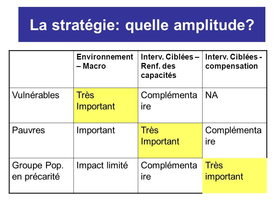 La stratégie: quelle amplitude. Environnement – Macro Interv.