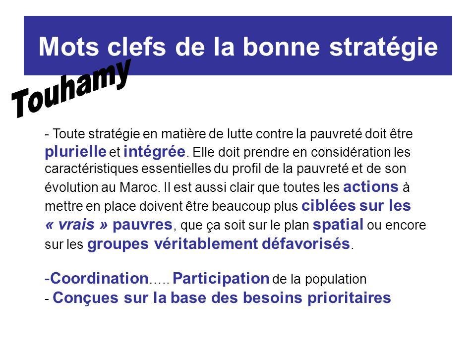 Mots clefs de la bonne stratégie - Toute stratégie en matière de lutte contre la pauvreté doit être plurielle et intégrée.
