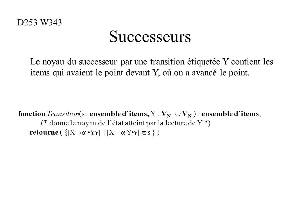 Successeurs fonction Transition(s : ensemble ditems, Y : V N V N ) : ensemble ditems; (* donne le noyau de létat atteint par la lecture de Y *) retour