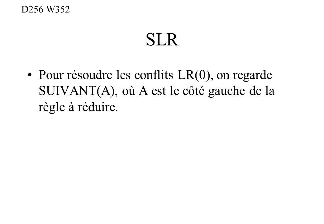 SLR Pour résoudre les conflits LR(0), on regarde SUIVANT(A), où A est le côté gauche de la règle à réduire. D256 W352