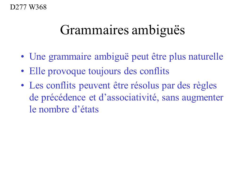 Grammaires ambiguës Une grammaire ambiguë peut être plus naturelle Elle provoque toujours des conflits Les conflits peuvent être résolus par des règle