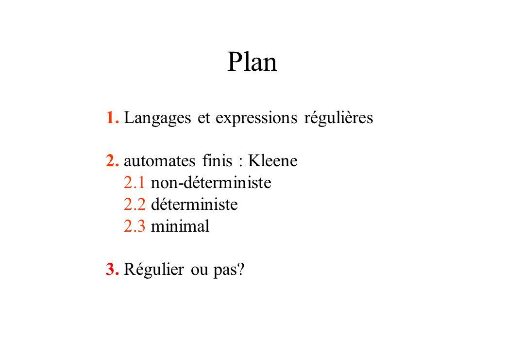 Plan 1. Langages et expressions régulières 2. automates finis : Kleene 2.1 non-déterministe 2.2 déterministe 2.3 minimal 3. Régulier ou pas?