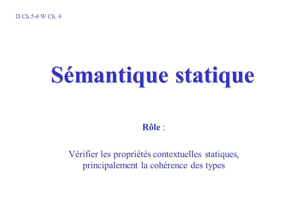 Sémantique statique Rôle : Vérifier les propriétés contextuelles statiques, principalement la cohérence des types D Ch.5-6 W Ch. 9