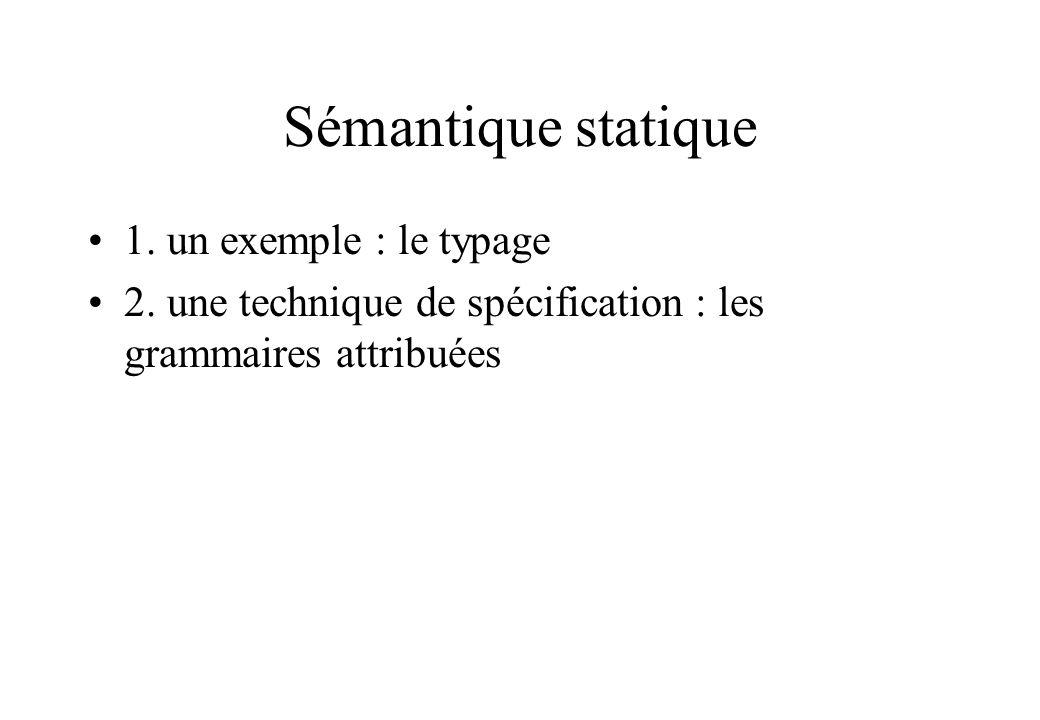 Sémantique statique 1. un exemple : le typage 2. une technique de spécification : les grammaires attribuées