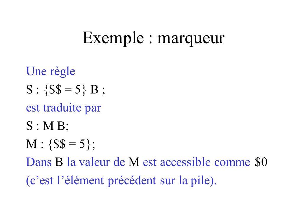 Exemple : marqueur Une règle S : {$$ = 5} B ; est traduite par S : M B; M : {$$ = 5}; Dans B la valeur de M est accessible comme $0 (cest lélément pré