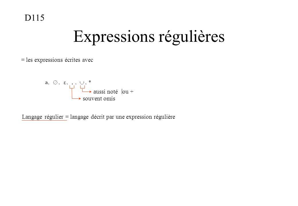 Expressions régulières = les expressions écrites avec souvent omis aussi noté ou + Langage régulier = langage décrit par une expression régulière D115