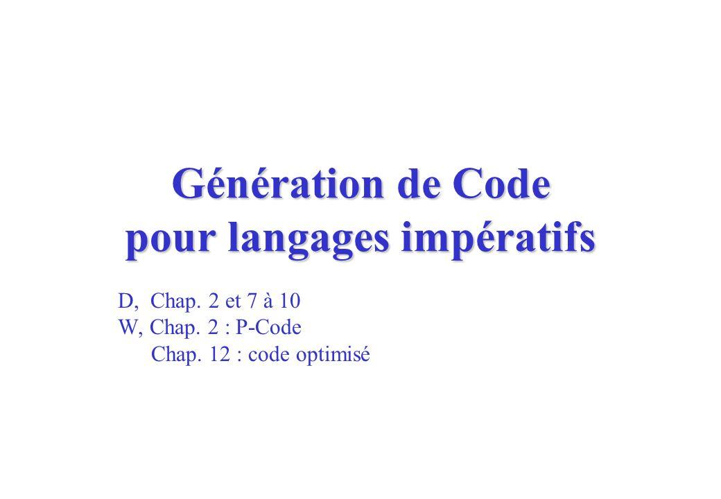 Génération de Code pour langages impératifs D, Chap. 2 et 7 à 10 W, Chap. 2 : P-Code Chap. 12 : code optimisé