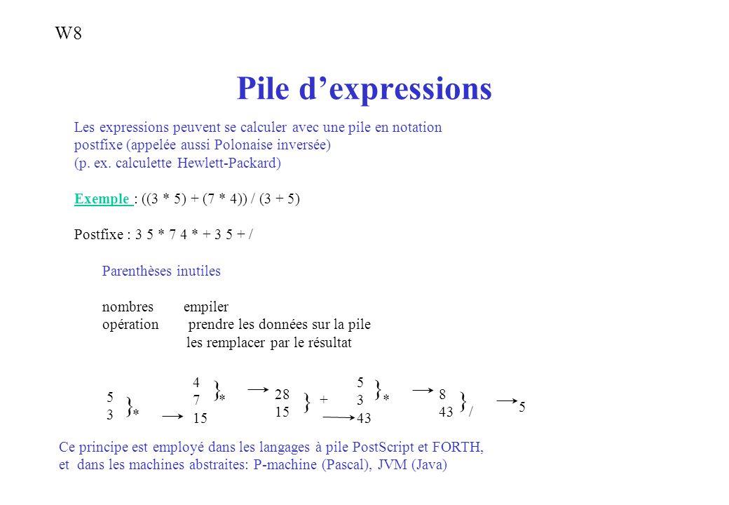 Pile dexpressions Les expressions peuvent se calculer avec une pile en notation postfixe (appelée aussi Polonaise inversée) (p. ex. calculette Hewlett
