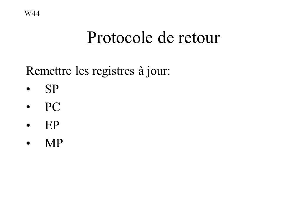 Protocole de retour Remettre les registres à jour: SP PC EP MP W44