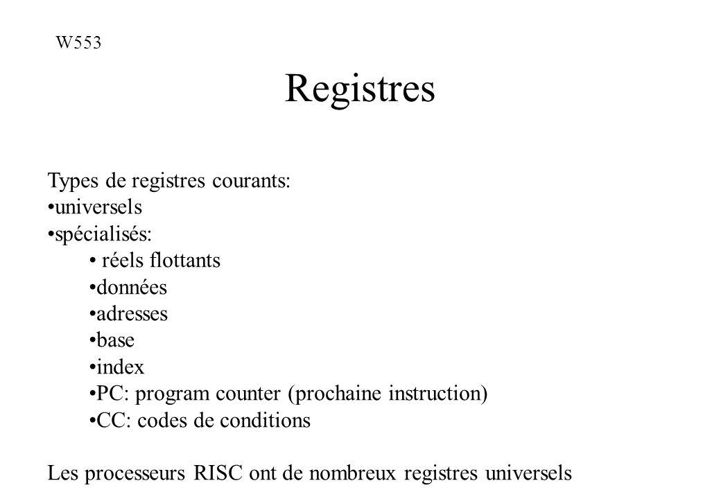 Registres Types de registres courants: universels spécialisés: réels flottants données adresses base index PC: program counter (prochaine instruction)
