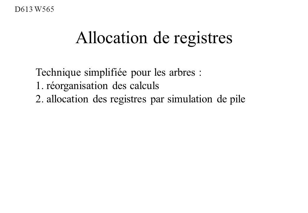 Allocation de registres D613 W565 Technique simplifiée pour les arbres : 1. réorganisation des calculs 2. allocation des registres par simulation de p
