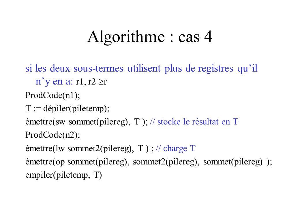 Algorithme : cas 4 si les deux sous-termes utilisent plus de registres quil ny en a: r1, r2 r ProdCode(n1); T := dépiler(piletemp); émettre(sw sommet(