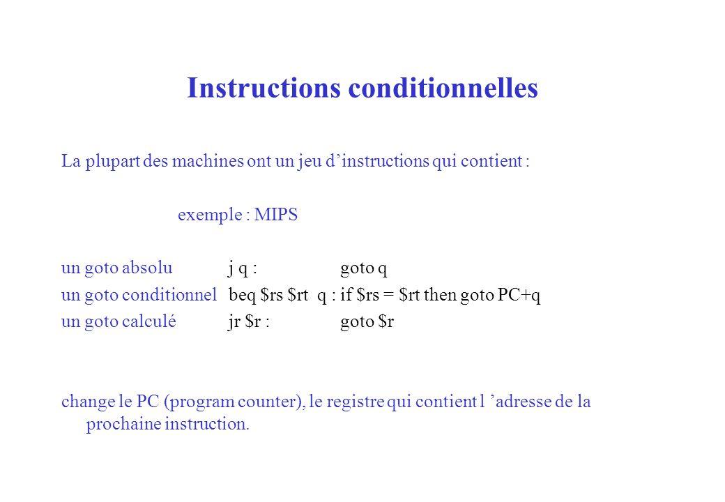 Instructions conditionnelles La plupart des machines ont un jeu dinstructions qui contient : exemple : MIPS un goto absoluj q :goto q un goto conditio