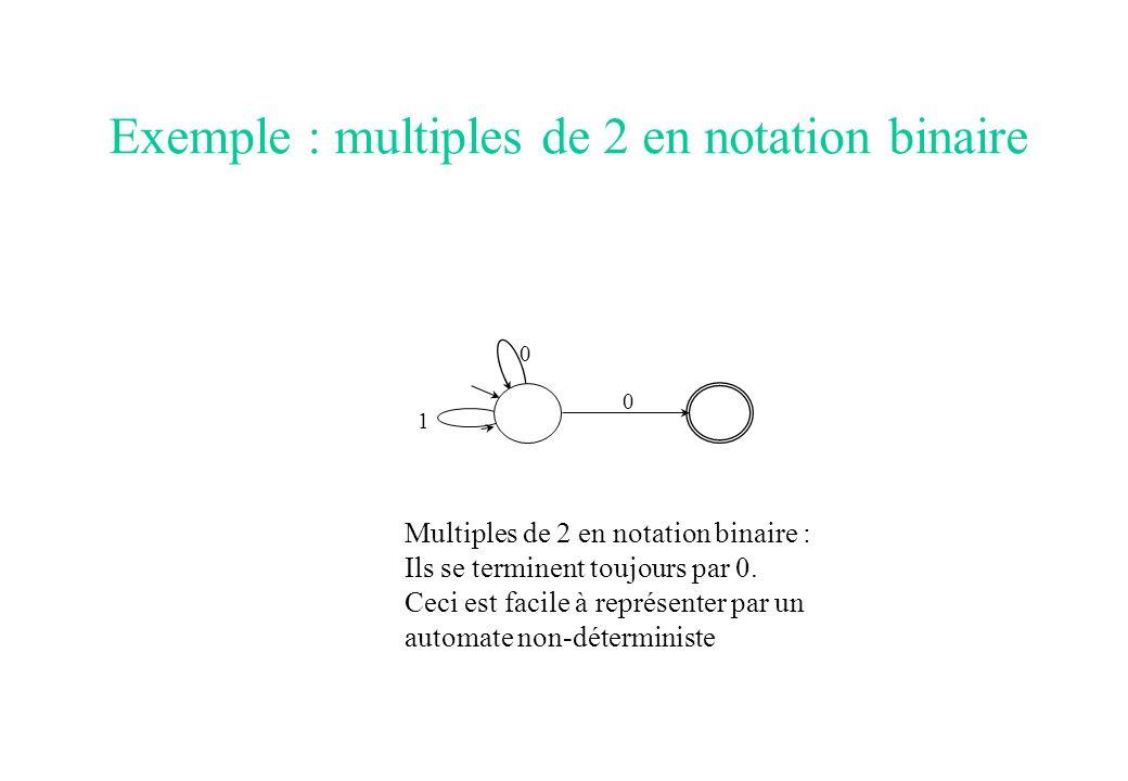 Exemple : multiples de 2 en notation binaire 0 0 1 Multiples de 2 en notation binaire : Ils se terminent toujours par 0. Ceci est facile à représenter