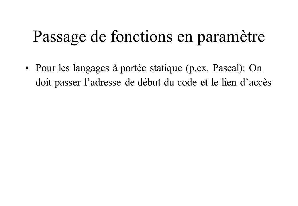 Passage de fonctions en paramètre Pour les langages à portée statique (p.ex. Pascal): On doit passer ladresse de début du code et le lien daccès